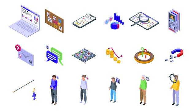 Conjunto de ícones de público-alvo. conjunto isométrico de ícones de vetor de público-alvo para web design isolado no fundo branco