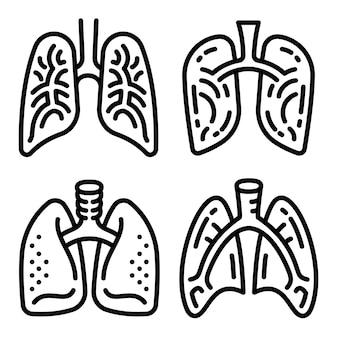 Conjunto de ícones de pulmão, estilo de estrutura de tópicos