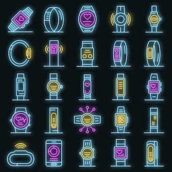Conjunto de ícones de pulseira de aptidão. conjunto de contorno de ícones de vetor de pulseira de fitness cor de néon no preto