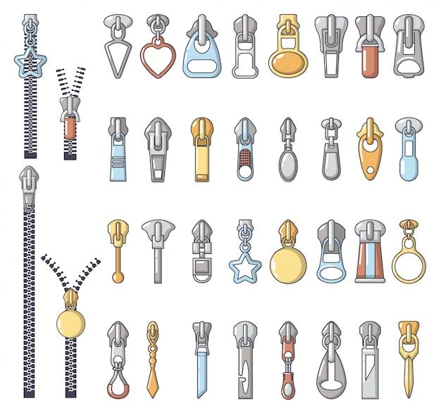 Conjunto de ícones de puxador de zíper de metal