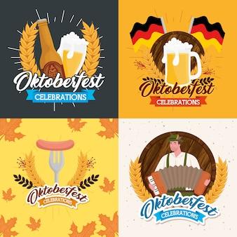 Conjunto de ícones de quadros, festival oktoberfest da alemanha e tema de celebração