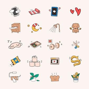Conjunto de ícones de quarentena e distanciamento social fofo