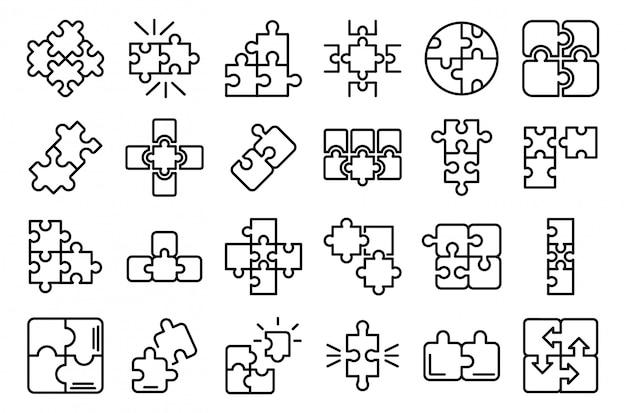 Conjunto de ícones de quebra-cabeças, estilo de estrutura de tópicos