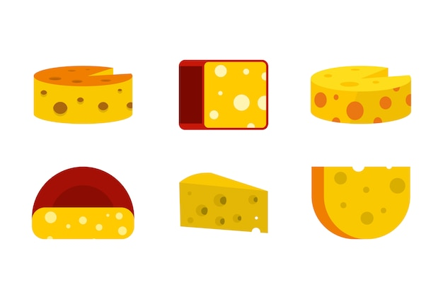 Conjunto de ícones de queijo. conjunto plano de coleção de ícones de vetor de queijo isolado