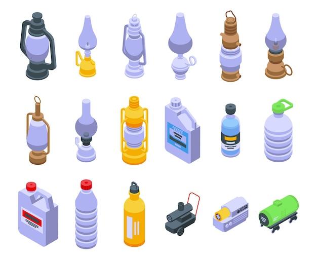 Conjunto de ícones de querosene. conjunto isométrico de ícones do vetor de querosene para web design isolado no fundo branco