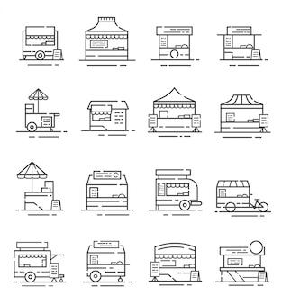 Conjunto de ícones de quiosque de comida de rua com estilo de estrutura de tópicos