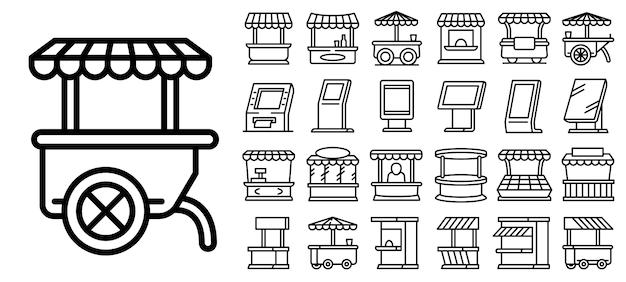 Conjunto de ícones de quiosque, estilo de estrutura de tópicos