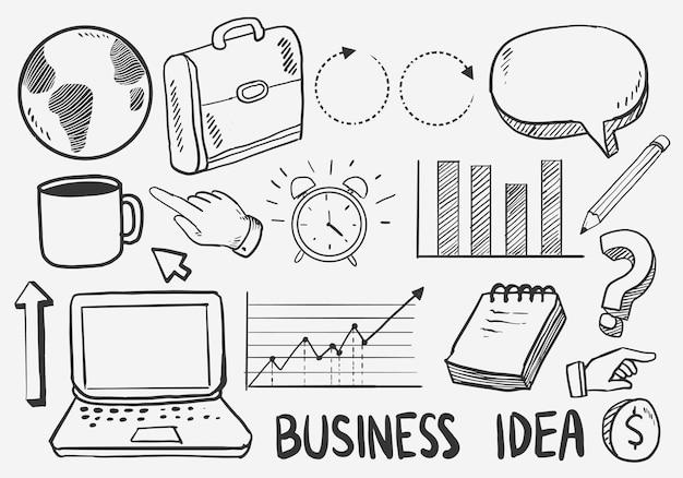 Conjunto de ícones de rabiscos de ideia de negócio. ilustração vetorial. isolado no fundo branco.