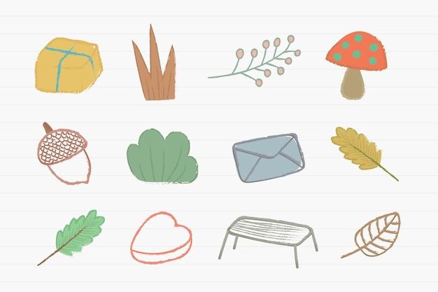 Conjunto de ícones de rabiscos fofos de outono