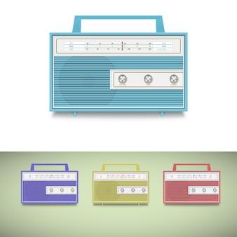 Conjunto de ícones de rádio transistor antigo