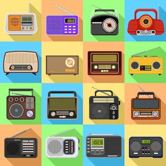 Conjunto de ícones de rádio.