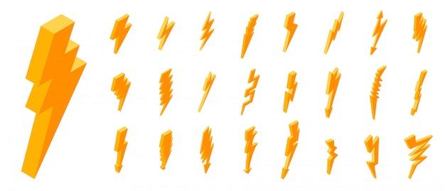 Conjunto de ícones de raio, estilo isométrico