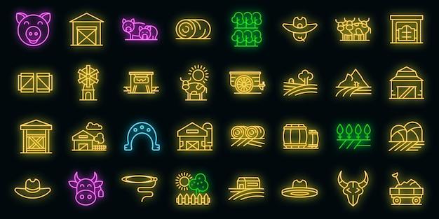 Conjunto de ícones de rancho. conjunto de contorno de ícones de vetor de fazenda cor neon em preto
