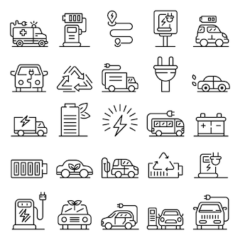 Conjunto de ícones de reabastecimento elétrico, estilo de estrutura de tópicos