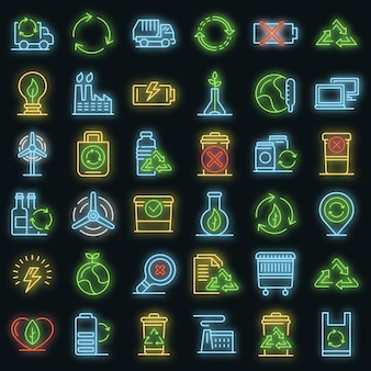 Conjunto de ícones de reciclagem. conjunto de contorno de reciclagem de ícones vetoriais cor de néon no preto
