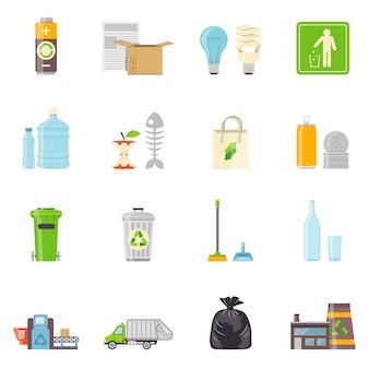 Conjunto de ícones de reciclagem de lixo