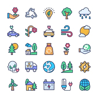 Conjunto de ícones de reciclagem e ecologia