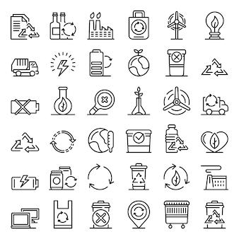 Conjunto de ícones de reciclagem, estilo de estrutura de tópicos