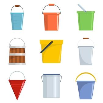 Conjunto de ícones de recipiente de tipos de balde vector isolado