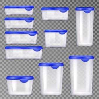 Conjunto de ícones de recipientes de comida de plástico