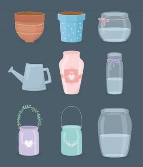 Conjunto de ícones de recipientes de jardinagem
