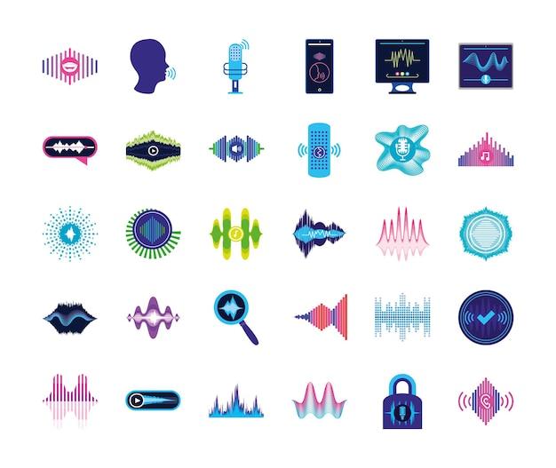 Conjunto de ícones de reconhecimento de voz