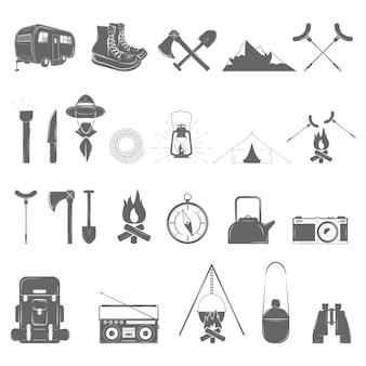 Conjunto de ícones de recreação ao ar livre