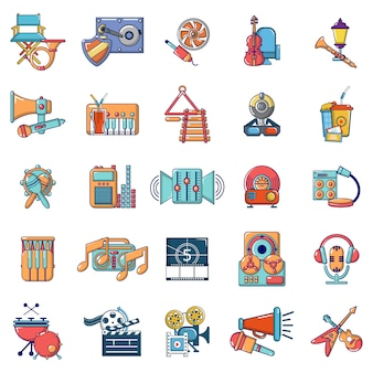 Conjunto de ícones de recreação de mídia, estilo cartoon