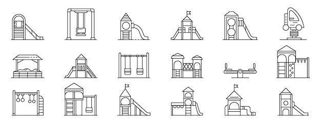 Conjunto de ícones de recreio de criança, estilo de estrutura de tópicos