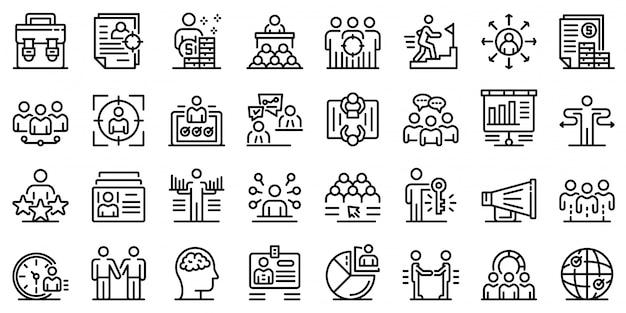 Conjunto de ícones de recrutador, estilo de estrutura de tópicos