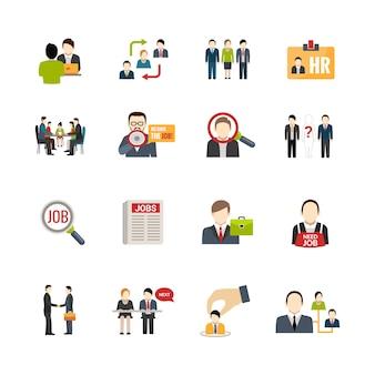 Conjunto de ícones de recrutamento