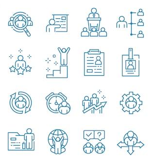 Conjunto de ícones de recursos humanos com estilo de estrutura de tópicos