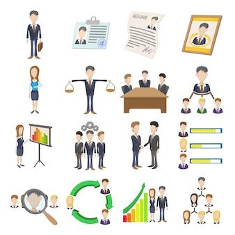 Conjunto de ícones de recursos humanos em vetor isoladas de estilo dos desenhos animados