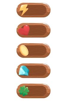 Conjunto de ícones de recursos poder, energia, moedas, dinheiro, ouro, vida, saúde, corações, trevo, sucesso, cristal.