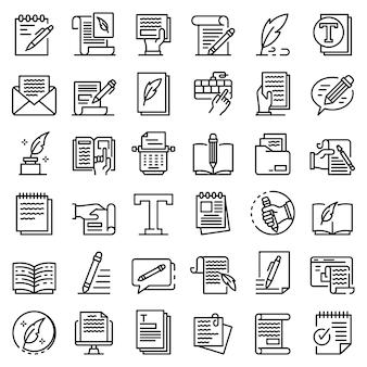Conjunto de ícones de redator, estilo de estrutura de tópicos