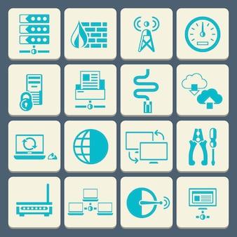 Conjunto de ícones de rede botão plana