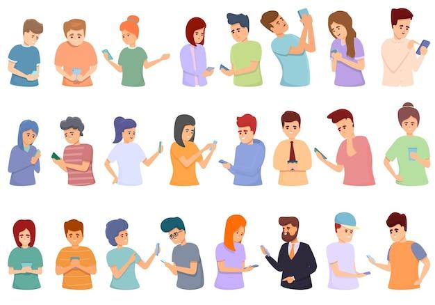 Conjunto de ícones de rede de mensagens. conjunto de desenhos animados de ícones vetoriais de rede de mensagens para web design