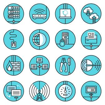 Conjunto de ícones de rede linha azul