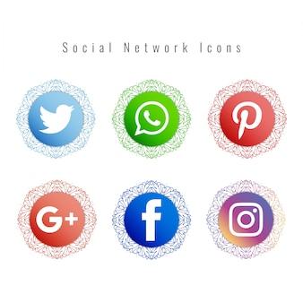 Conjunto de ícones de rede social estilo mandala