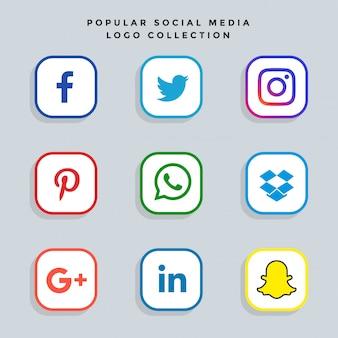 Conjunto de ícones de redes de mídia social moderna