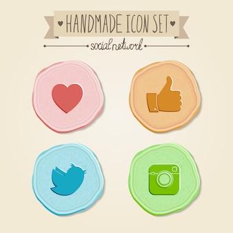 Conjunto de ícones de redes sociais em estilo vintage.