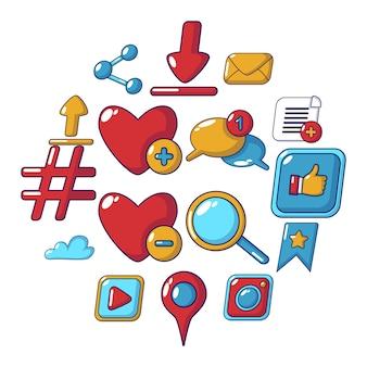 Conjunto de ícones de redes sociais, estilo cartoon