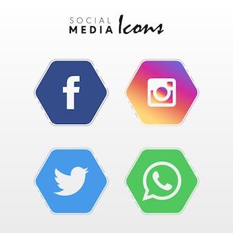 Conjunto de ícones de redes sociais populares em forma de polígono coleção