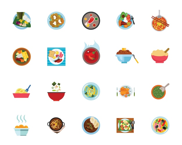 Conjunto de ícones de refeições