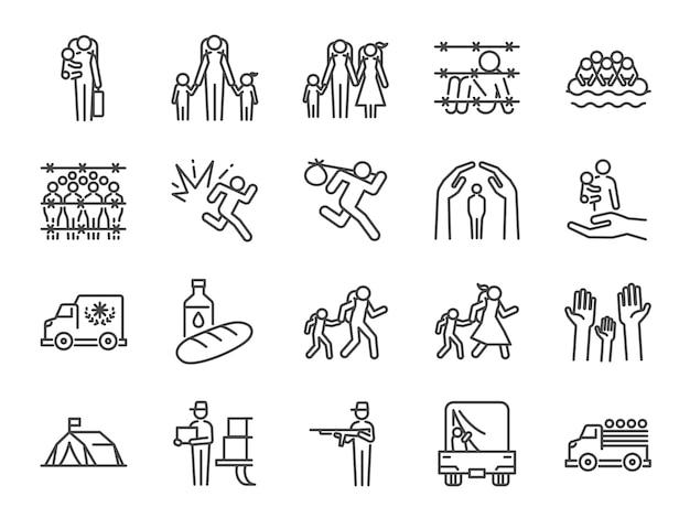 Conjunto de ícones de refugiados.