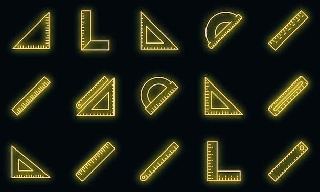 Conjunto de ícones de régua. conjunto de contorno de ícones de vetor de régua, cor de néon no preto