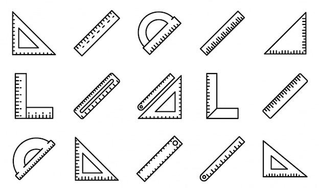 Conjunto de ícones de régua