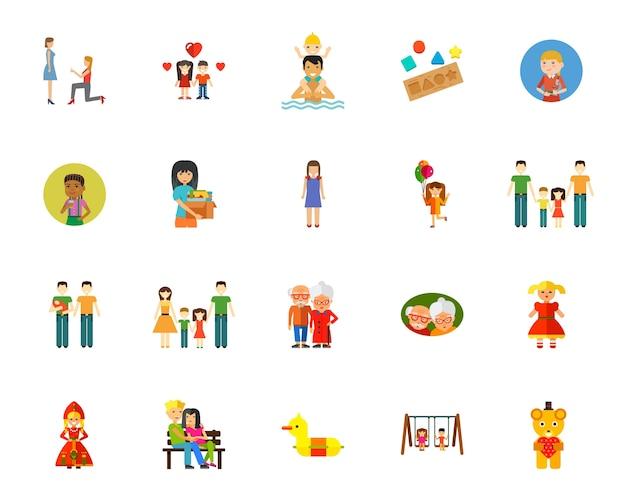 Conjunto de ícones de relacionamento familiar