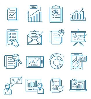 Conjunto de ícones de relatório com estilo de estrutura de tópicos