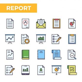Conjunto de ícones de relatório, estilo de cor preenchido